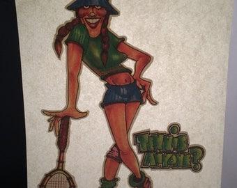 Vintage Tennis 1970's Iron-on Transfer