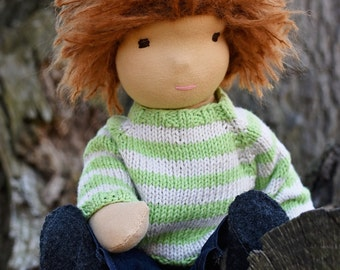 Boy Waldorf Doll / Boy Steiner Doll - Boy, Auburn Hair, Red Hair, Brown Eyes, Knit Sweater, 16 inch
