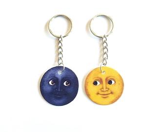Dark & Light Moon Emoji friendship Keychains
