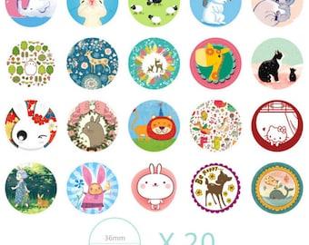 Animal stickers cute kawaii