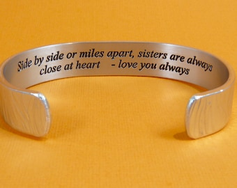Sister to Sister Gift - Side by side or miles apart, sisters are always close at heart... - Maid of Honor Gift / Bridesmaids Gifts