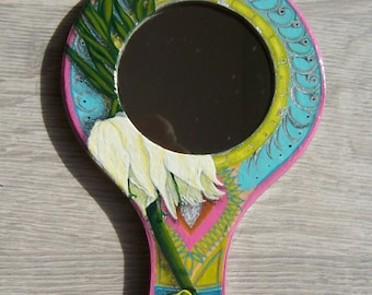 Painted mirror, mirror in hand, decorated mirror