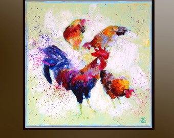 Rooster, Hens, Original painting, Rooster art, Hens art, Acrylic painting