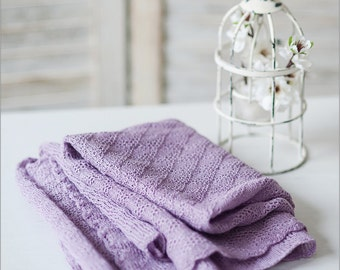 Knit Lilac Baby Blanket, Linen Blanket, Newborn photo prop, Shower Gift, Linen Throw, Newborn Blanket, Nursery Bedding, Newborn wrap