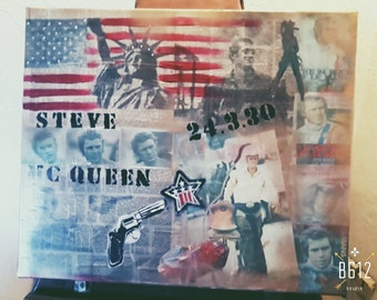 items similar to steve mcqueen classic a3 poster print sans cadre on etsy. Black Bedroom Furniture Sets. Home Design Ideas