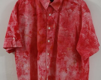Men's XXL ice-dyed, up-cycled, collared shirt
