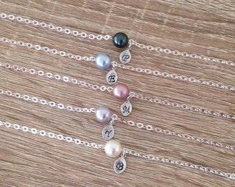 12 Pearl Colors | Personalised Bracelet, Letter Charm Bracelet, White Swarovski Pearl Bracelet, Bridesmaid Gift, Initial Jewelry, Silver