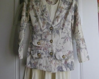 Floral Tapestry Skirt Suit by Dawn Joy Fashions, Size 4