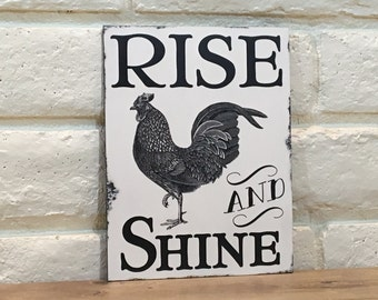 Rise And Shine Wood Sign, Farmhouse Kitchen Decor, Rooster Decor, Farm Sign, Kitchen Decor, Farmhouse Decor, Rooster Sign, Housewarming Gift