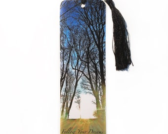 Bookmark Nature, Trees, Sunset, tassel w/ beads, Follow Your Dreams