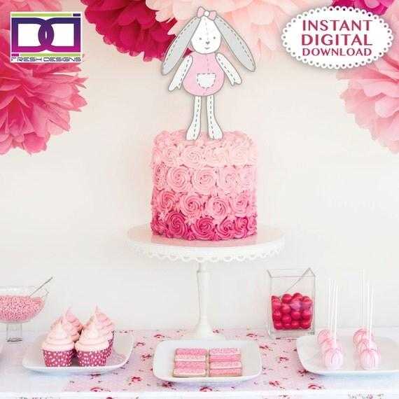 Bunny Baby Shower Cake Topper, Adorno Para Torta De Conejita, Baby Shower  Cake Topper Girl, Sweet Baby Shower Cake Topper,Pink And Gray Baby