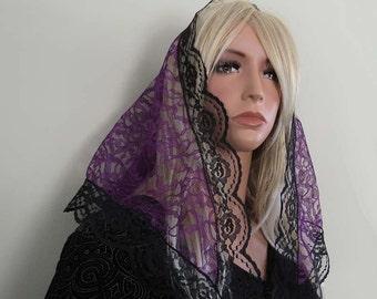 Purple Lace with Black Trim Traditional Catholic Mantilla Style Chapel Veil