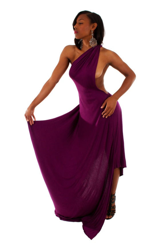 custom boutique maxi one shoulder bare back red carpet cocktail special occasion plum  asymmetrical hem dress Size M