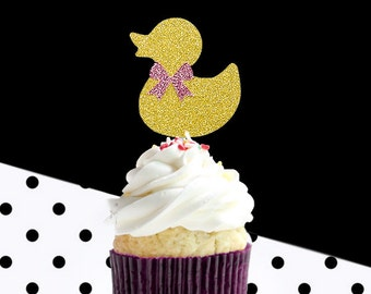 12 rubber duck cupcake toppers, glitter party decoration,company party,birthday party,gold glitter cupcake topper,baby shower,kid's birthday
