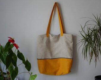 Linen tote bag. linen beach bag, linen bag with a pocket, linen shopping bag