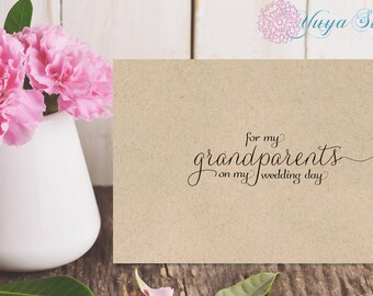 For my grandparents Rustic note cards/ for my grandparents on my wedding day note cards /Rustic, Kraft wedding day notes