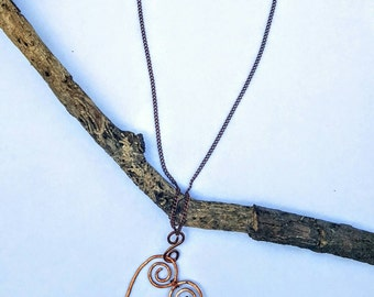 Hand Formed and Wrapped Copper Heart Pendant with Beads Necklace