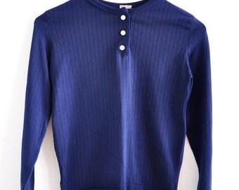 Vintage 70s Minimal Royal Blue Nylon Knit Top