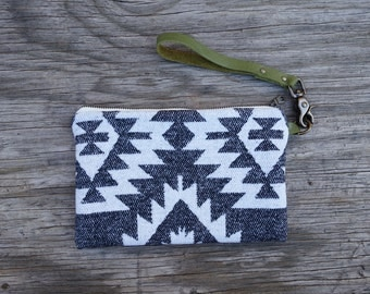 Black and White Wool Fabric Clutch, Detachable Leather Strap - Geometric Southwest Style, Solid Brass Hardware, Handmade. Gift for Her