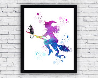 Witch Whit Cat Watercolor printable, Witch Whit Cat Printable Wall Art, Witch Whit Cat wall art, Witch Whit Cat printable poster