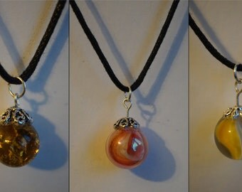 Glass Marble earrings and necklaces, crackled glass