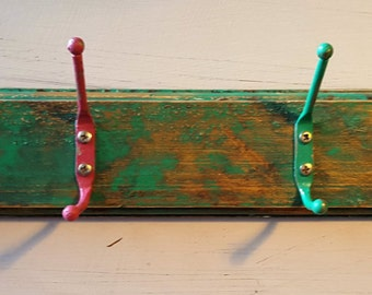 Shabby Chic distressed rustic green gold coat hooks coat rack