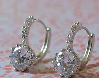 Bridal wedding earrings,  white gold filled , Swarovski crystal