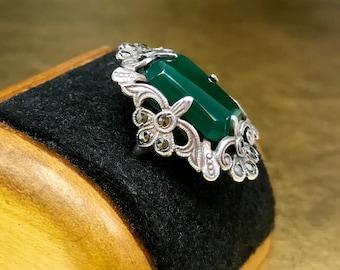 Green Art Deco Ring | Chrysoprase Ring | 1920s Statement Ring | Sterling 1920s Ring | Silver 1920s Ring | Her 1920s Ring | Size 5 Ring