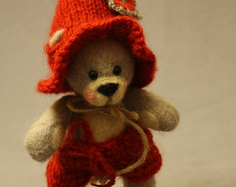 Needle felted cute teddy bear (Nedo), needle felted teddy bear, needle felted animals, needle felted cute animals, felted cute teddy bear,