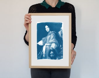 Cyanotype Print, Allori Painting Of Judith with the Head of Holofernes on Watercolor Paper, A4 size
