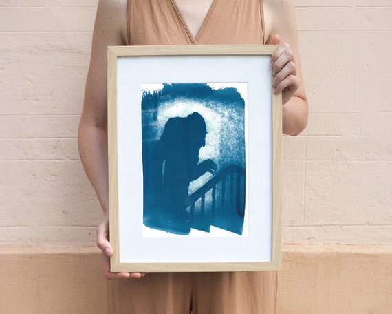 Nosferatu Film Still Cyanotype, Shadow of Nosferatu on Watercolor Paper (Limited Edition)