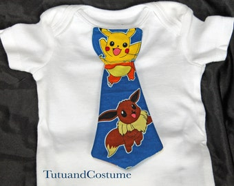 Pokemon Onesie with Tie, Onesie with Tie,  Pokemon Baby Boy Onesie, Pokemon Tie,  Newborn Onesie with Tie, White Onesie with Tie