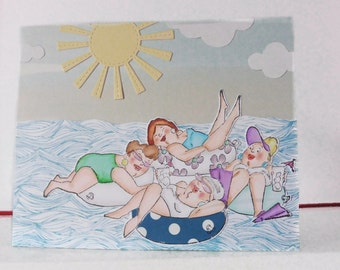 Summer card - Funny card - All occasion card - Hand colored - Blank double greeting card - Main card color is aqua blue