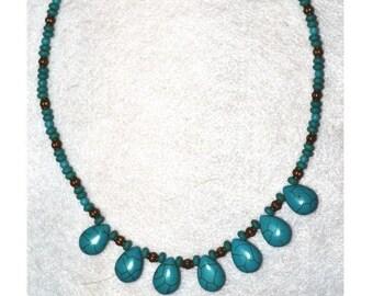 Turquoise Necklace, Antique Bronze Accents