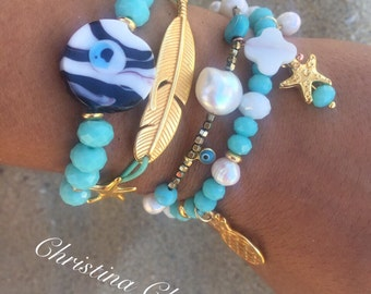 Turquoise Beaded Bracelets, Evil Eye Bracelet, Leaf Bracelet, Pearl Bracelet, Dainty Pearl Bracelet Gold, Pearl Jewelry