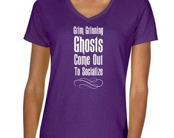 """Disney's The Haunted Mansion """"Girm Grinning Ghosts"""" Vneck Tshirt"""