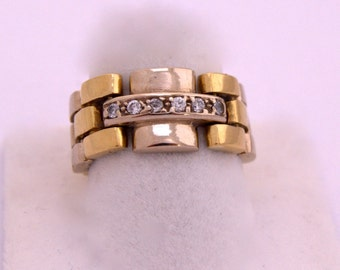 Ring Panter Gold Solid 18 k Yellow White Diamond Ring Panter 18 k gold yellow and white diamonds T. bright