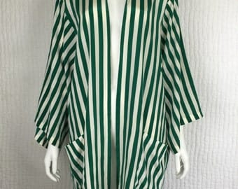 Vtg 80s emerald green and white silk striped kimono cocoon top jacket duster