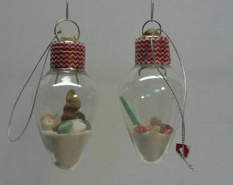 Christmas glass bulb ornament, Glass bulb with sand and shells, Holiday  tree ornament, set o 2