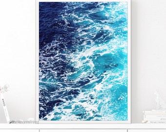 Blue Waves Print, Wave Wall Art, Printable Waves, Sea Wall Art, Ocean Art, Ocean Waves, Blue Printable, Summer Wall Art, Beach Wall Decor