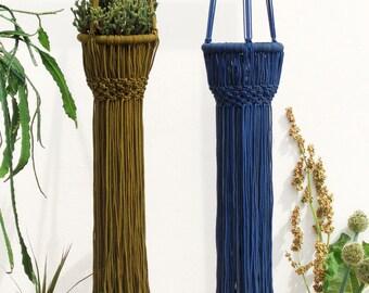 Macrame plant hanger large, macrame plant hanger, royal BLUE /olive GREEN macrame plant holder, macrame plant holder, macrame planter