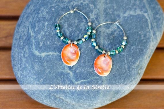 "Green ""Erinite"", orange, silver & seal shell Earring hoops creole - Eye of Santa Lucia"