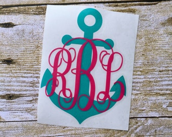 Monogrammed anchor / Anchor car decal / Monogram anchor decal / Anchor yeti decal / Anchor sticker / Monogram anchor / Anchor decor / Yeti
