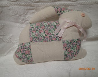 Quilt Bunny Rabbit. Vintage Quilt. Patchwork quilt. Vintage Button. Floral. Home decor. One-of-a-Kind. Stuffed animal.