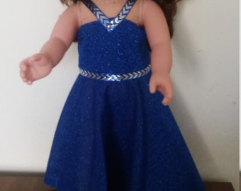 """Fancy party dress for American Girl and other 18"""" dolls."""