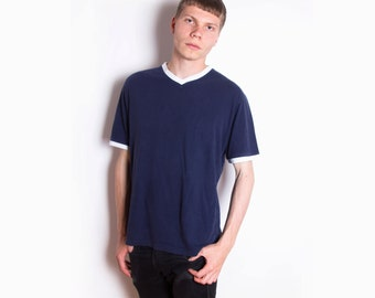 Vintage 80s, Retro, Navy Blue, Summer, Soft Cotton, V-Neck T-Shirt // Size M