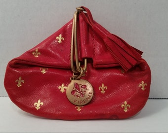 Italian Red Leather Coin Purse with Fleur-de-lis Design