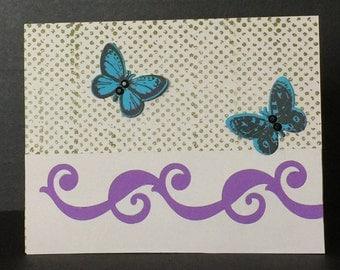 Handmade Greeting Cards-Fluttering Butterflies (Set of 5 Cards) Purple Notecards