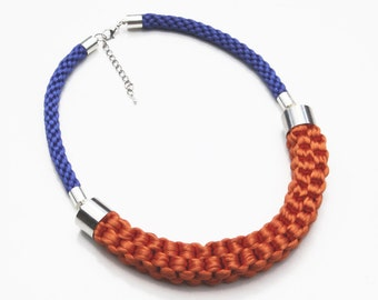 Orange and blue necklace, knotted rope necklace, statement necklace, fashion accessory