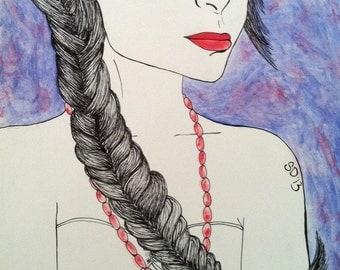 Fashion Illustration, Fashion Drawing, Fashion Art, wall art, Hair art, sunglasses, drawing, ink drawing, illustration, braid art, gouache